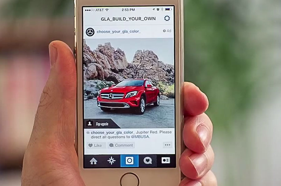 Mercedes Benz GLA Build A Car Instagram App