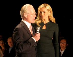 Heidi Klum and Tim Gunn of Project Runway having a good moment in their relationship.