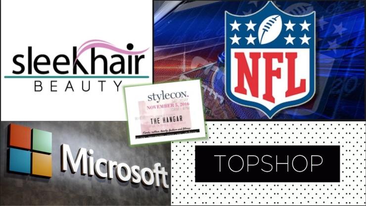 NFL Topshop Microsoft Sleekhair Beauty all sponsor Stylecon