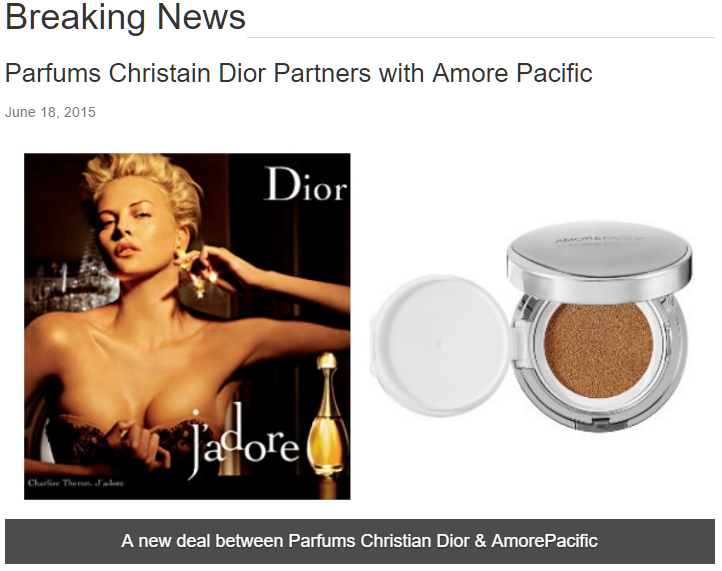 Dior Partners with Amore Pacific for the Dior DreamSkin Perfect Skin Cushion Product.